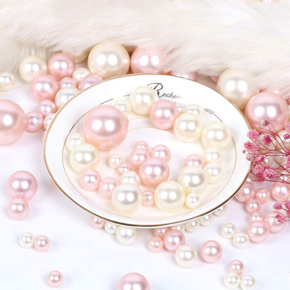 222 Pieces Pearl for Vase Filler Pearls Bead for Vase Makeup Beads for Brushes Holder Assorted Round Faux Pearl Beads for Home Wedding Decor Table Scatter -14 MM 20 MM 30 MM DIY Jewelry Necklaces