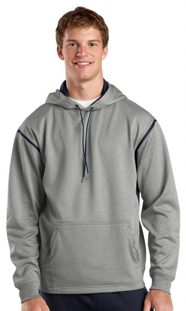 Sport-Tek Men's Tall Tech Fleece Colorblock Hooded 4XLT Grey Heather/True Navy by Sport-Tek