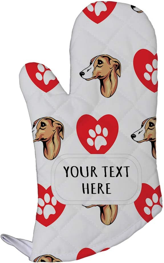 Style In Print Polyester Oven Mitt Custom Whippet Dog Heart Paws Pattern Adults Kitchen Mittens
