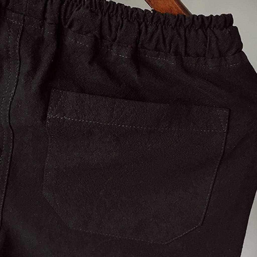 Fashion! SFE Men Summer Shorts,Mens Summer Leisure Flax Large Size Loose Belt Drawstring Beach Shorts