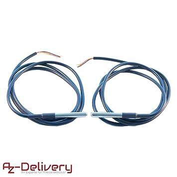 AZDelivery ⭐⭐⭐⭐⭐ 2 x 1m Cable DS18B20 Sensor de Temperatura Digital de Acero Inoxidable Sensor de Temperatura Resistente al Agua para Arduino y ...