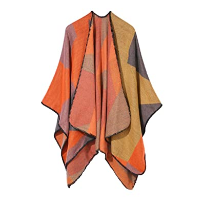 HDGTSA Women's Wrap Shawl Printed Tassel Open front Poncho Cape Cardigan Soft Cashmere Scarves(F Orange) at Women's Clothing store