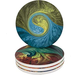 Ceramic Coaster Set of 4,Absorbent Stone Coasters for Cold Drinks Coffee Mug Glass Cup Place Mats (Mysterious Wonder)