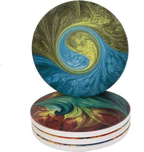 Amazon.com: Juego de 4 posavasos de cerámica absorbente para ...