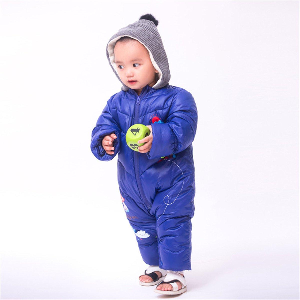 JELEUON Baby Girls Boys One Piece Winter Warm Hoodie Romper Snowsuit Jumpsuit