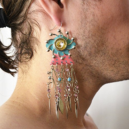 - Pink and Teal Long Strand Earrings