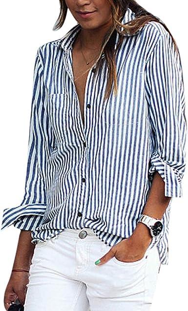 Ai.Moichien Camisa De Manga Larga con Rayas para Mujer Camisa ...