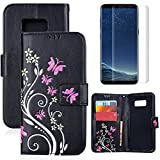 for Samsung Galaxy S8 Case Wallet Black,OYIME with Screen Protector Kickstand Magnetic Flip Leather Protective Back Cover [Butterfly Flower Embossed] Card Slot Holder with Lanyard Strap