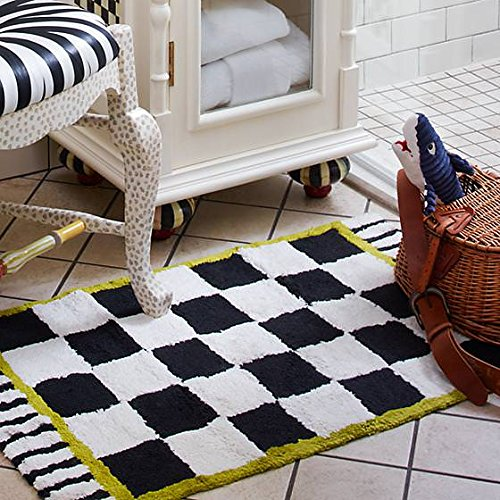 MacKenzie-Childs Courtly Check and Stripped Black and White Bath Mat 100% Cotton - Bath Rug - 21 x 34 Long