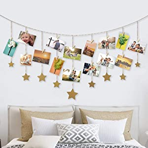 Retr Photo Display Wood Stars Garland Chains for Dorm Decor ,Hanging Picture Frame Collage with 30 Wood Clips, Wall Art Decoration for Home Office Nursery Room Dorm Living Room Bedroom (Gold)