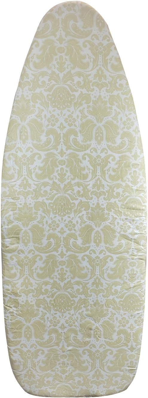"""Homz 1950073 Ultimate Replacement Cover and Pad for Wide Width Ironing Board, 18"""" x 48"""", Yellow Damask,Set of 1"""
