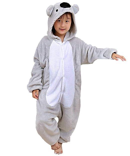 Niños Pijama Kigurumi Animal Cosplay Disfraces Animados Gris Koala Ropa de Dormir para Unisex Altura Entre