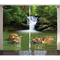 Ambesonne Safari Decor Curtains, Siberian Tigers in Water Waterfall Pool Woodland Swimming Asian Natural, Living Room Bedroom Decor, 2 Panel Set, 108 W X 84 L Inches