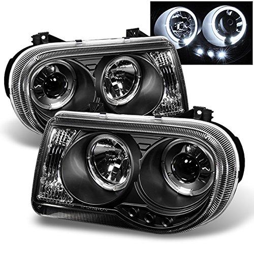 For Chrysler 300C Sedan Halogen Type Black Bezel Dual Halo Rings Design Projector Headlights Lamps Pair