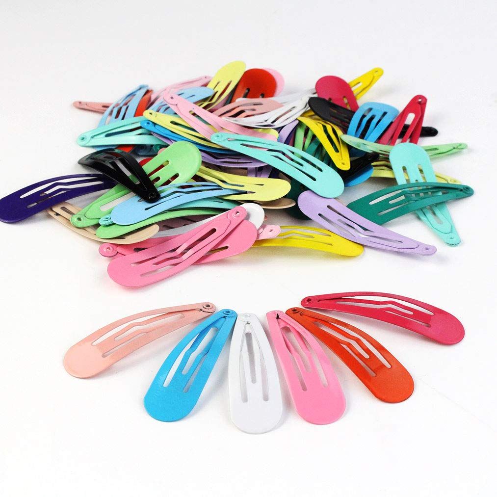 Yolyoo 90 Pcs/18 Colors Snap Hair Clips Non-Slip Metal Barrettes Hair Clips for Women Girls Teens