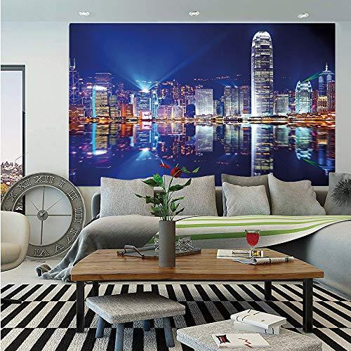 SoSung City Huge Photo Wall Mural,Hong Kong Island from Kowloon Vibrant View Water Reflection Modern China,Self-Adhesive Large Wallpaper for Home Decor 100x144 inches,Royal Blue Orange White