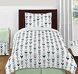 Sweet Jojo Designs 4-Piece Grey, Navy and Mint Woodland Arrow Print Boys or Girls Kids Twin Bedding Set