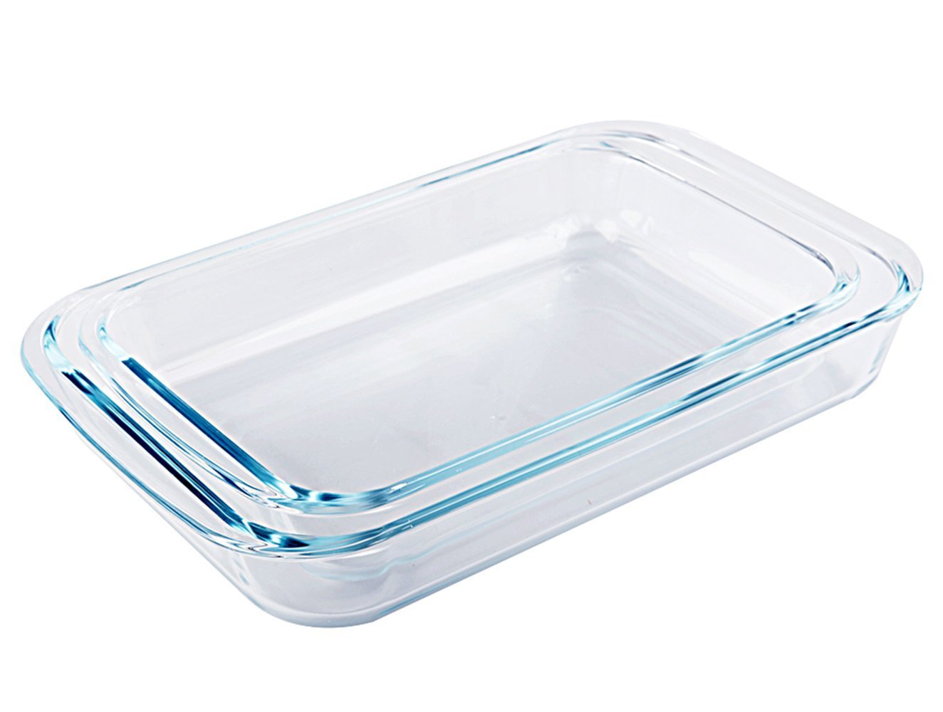 Tebery 2 Piece Clear Toughened Glass Baking Dishes, Oblong - 7 x 11.5 & 8 x 13.5
