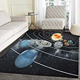 Galaxy Rug Kid Carpet Solar System All Eight Planets and the Sun Pluto Jupiter Mars Venus Science Fiction Home Decor Foor Carpe 4'x6' Black Grey