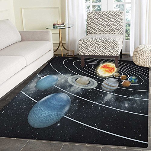 Galaxy Rug Kid Carpet Solar System All Eight Planets and the Sun Pluto Jupiter Mars Venus Science Fiction Home Decor Foor Carpe 4'x6' Black Grey by smallbeefly