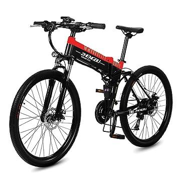MERRYHE Bicicleta De Montaña Eléctrica Plegable 240W 48V 10AH Bicicleta Extraíble Li-Battery Cruiser 27