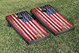 United States US Flag Distressed Wood Cornhole Game Set
