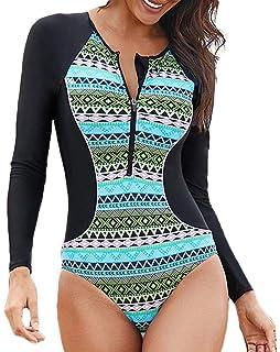 c055611f3 Socluer De las Mujeres De Colores Manga Larga Una Pieza Swimwear Sunproof  Secado Rápido Traje de Baño de Surf con Alta…