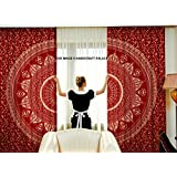 "Maroon Gold Beautiful Ombre Mandala Tapestry Curtains, Boho Curtains, Tapestry Drapes, Mandala Wall Hanging, Indian Curtains Mandala Window Treatment Door Hanging Sold By ""Handicraftspalace"""