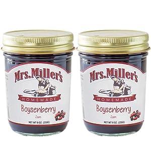 Mrs. Miller's Amish Homemade Boysenberry Jam 9 Ounces - Pack of 2