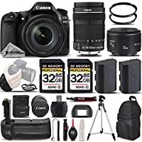 Canon EOS 80D Wi-Fi Full HD 1080P Digital SLR Camera + Canon 18-135mm IS STM Lens + Canon 50mm 1.8 II Lens + Battery Grip. All Original Accessories Included - International Version