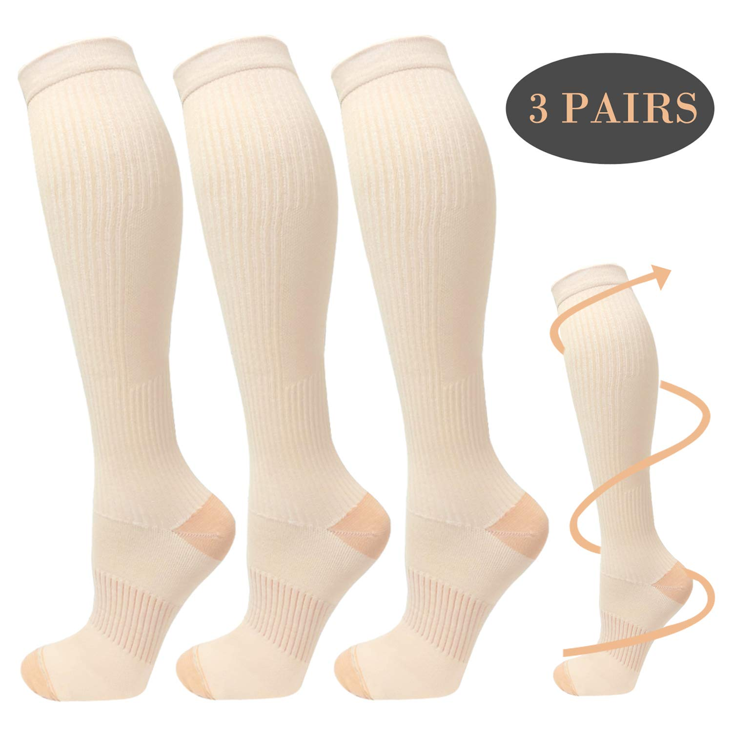Copper Compression Socks For Men&Women -3 Pairs - Best Recovery Support Socks For Running,Athletic,Medical,Pregnancy and Travel -15-20mmHg (Nude, S/M)