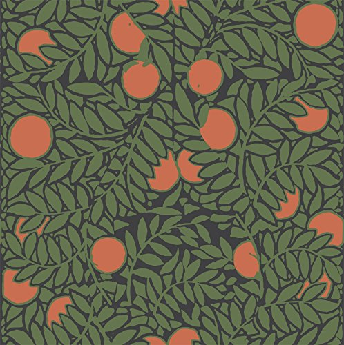 Mitchell Black Orange Grove Wallpaper in Forest/Orange ()