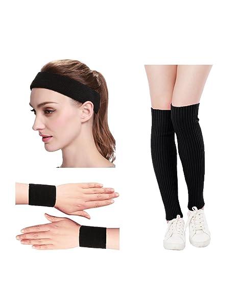 964026b2d978 KIMBERLY S KNIT Women 80s Neon Pink Running Headband Wristbands Leg Warmers  Set (Free