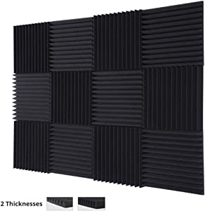 "TRUE NORTH Acoustic Foam Panels 12 Pack (1"" or 2"" Thick) – Acoustic Panels, Sound Proof Foam Panels, Sound Proof Padding, Studio Foam, Soundproof Foam, Sound Foam, Sound Panels, Studio Equipment"