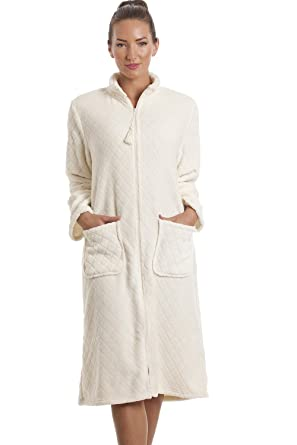 95bf060055 Camille Womens Ladies Soft Fleece Ivory Zip Front House Coat 18 20 ...