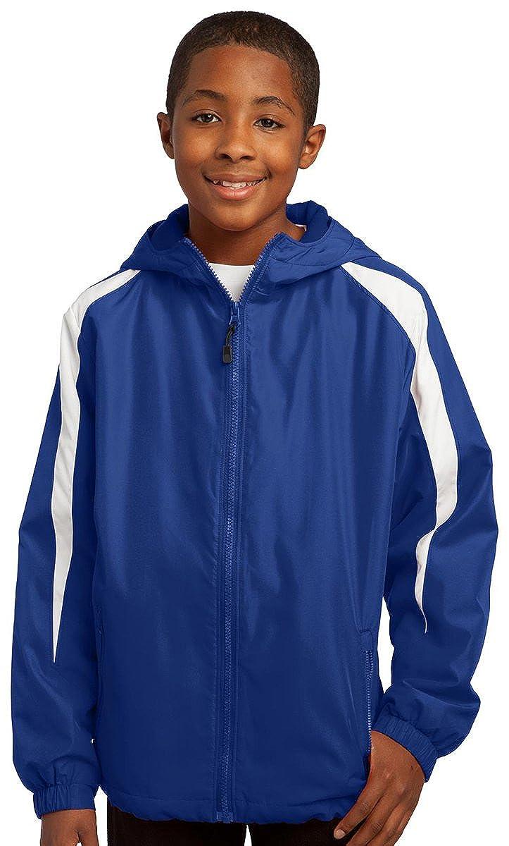 Sport-Tek YST81 Youth Fleece-Lined Colorblock Jacket Black//White YST81 L