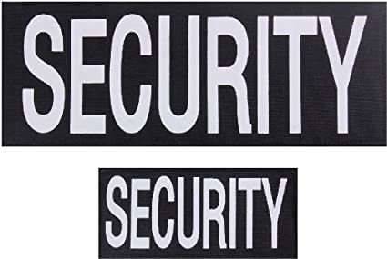 1 Large /& 1 Small Patch for Vests or Jackets SECURITY Patches Hook Back