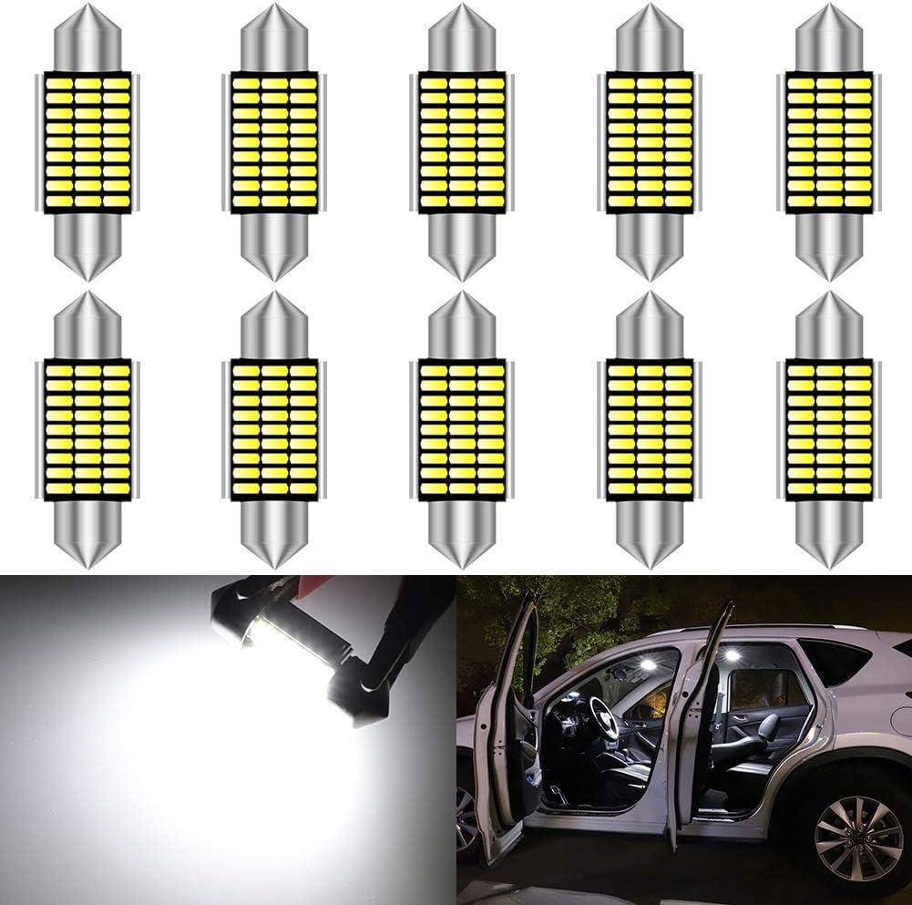 KATUR 36mm Festoon C5W Bombillas LED 6000K Luz Blanca Canbus Libre de Errores para 6418 6461 6486X 6411 6418 6451 Luces de Puerta de matrícula de Domo Interior (10 Piezas, Blanco)