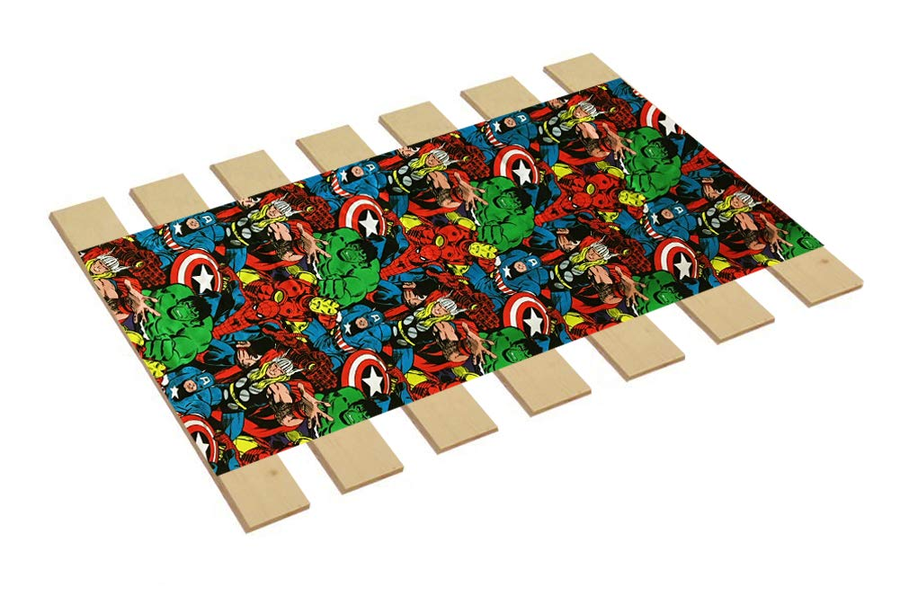 Custom Made in The U.S.A.! Youth/Toddler Size Avengers Comic Book Hero Themed Bed Slats Bunky Boards - Cut to The Width of Your Choice (29'' Wide) - Free Box of Crayons with Purchase by The Furniture Cove