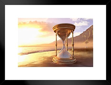 Amazon Com Poster Foundry Hourglass On Ocean Beach Photo Matted Framed Art Print Wall Decor 26x20 Inch Posters Prints