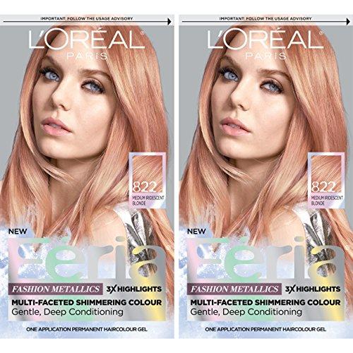 L'Oreal Paris Feria Multi-Faceted Shimmering Permanent Hair Color, Rose Gold, 2 Count Hair Dye