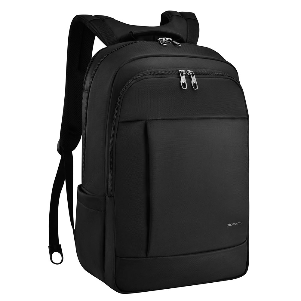 KOPACK Deluxe Black Water Resistant Laptop Backpack 15.6 17 Inch Travel Gear Bag Business Trip Computer Daypack KP512
