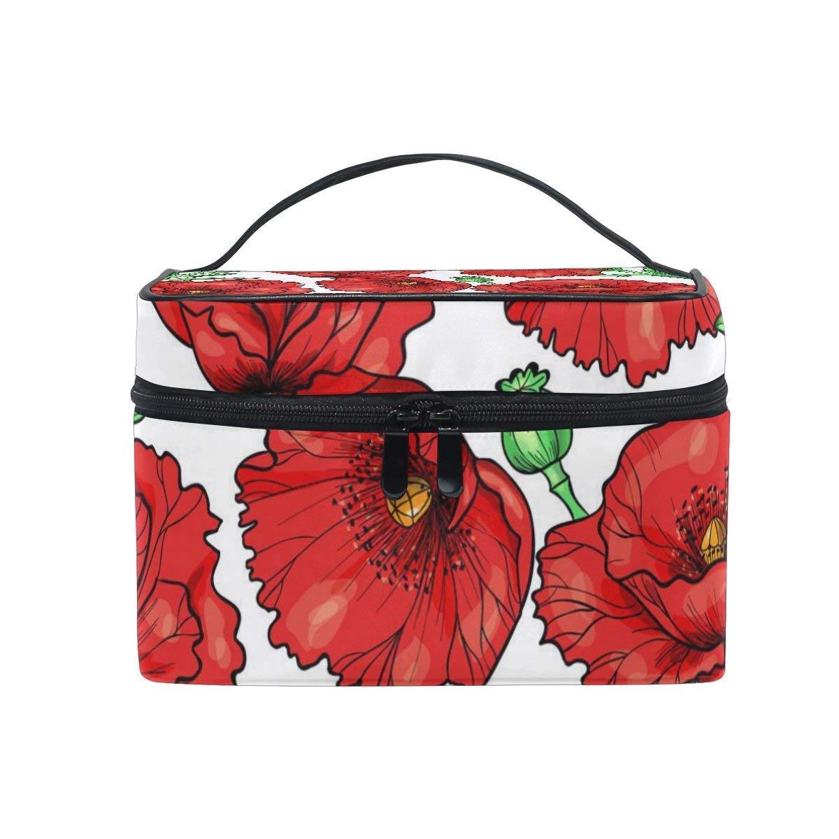 f82d63f6377e Amazon.com : Cosmetic Case Bag Poppy Flower Portable Travel Makeup ...