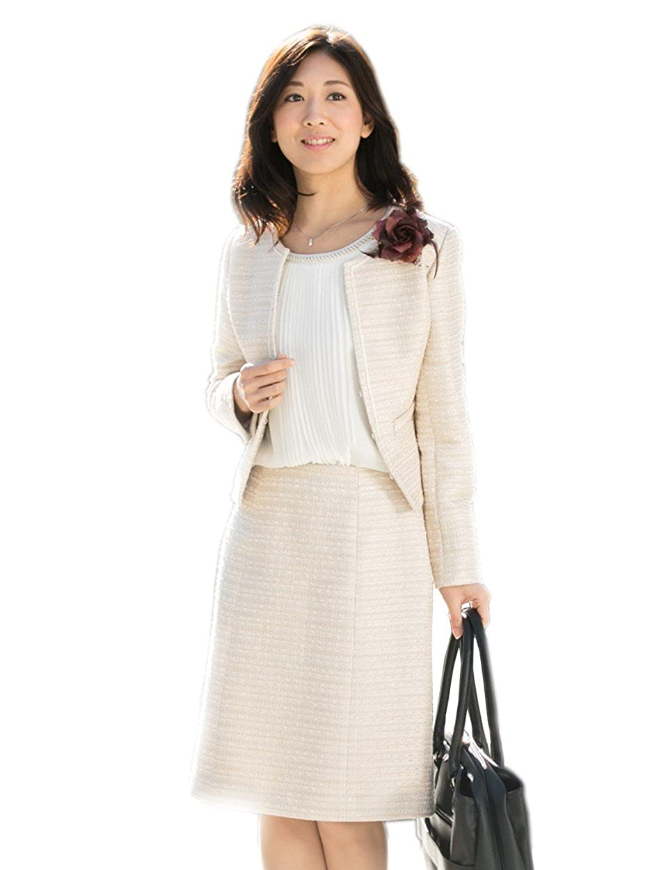 833cb166f149a  5~17号 フェアモント ツイードスーツ 入学式 入園式 ママ 母親 レディース