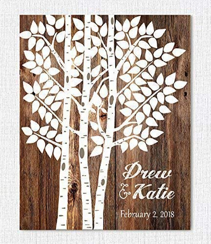 Wedding Sign - Personalized Wedding Gift - Wedding Decor - Wedding Tree Guest Book Alternative]()
