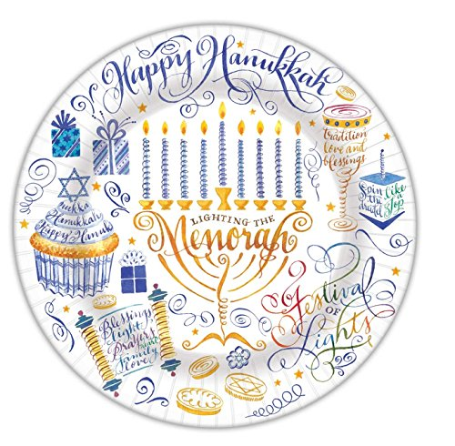 Punch Studio Hanukkah Collection Set of 8 Dinner Paper Plates - Light the (Collection Menorah)