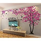 Albero Adesivo da Parete, Alberi e Uccelli 3D Adesivi Murali Arts Wall Sticker Decorativi per TV Par (XL-400 * 200cm, Rosa Destra)