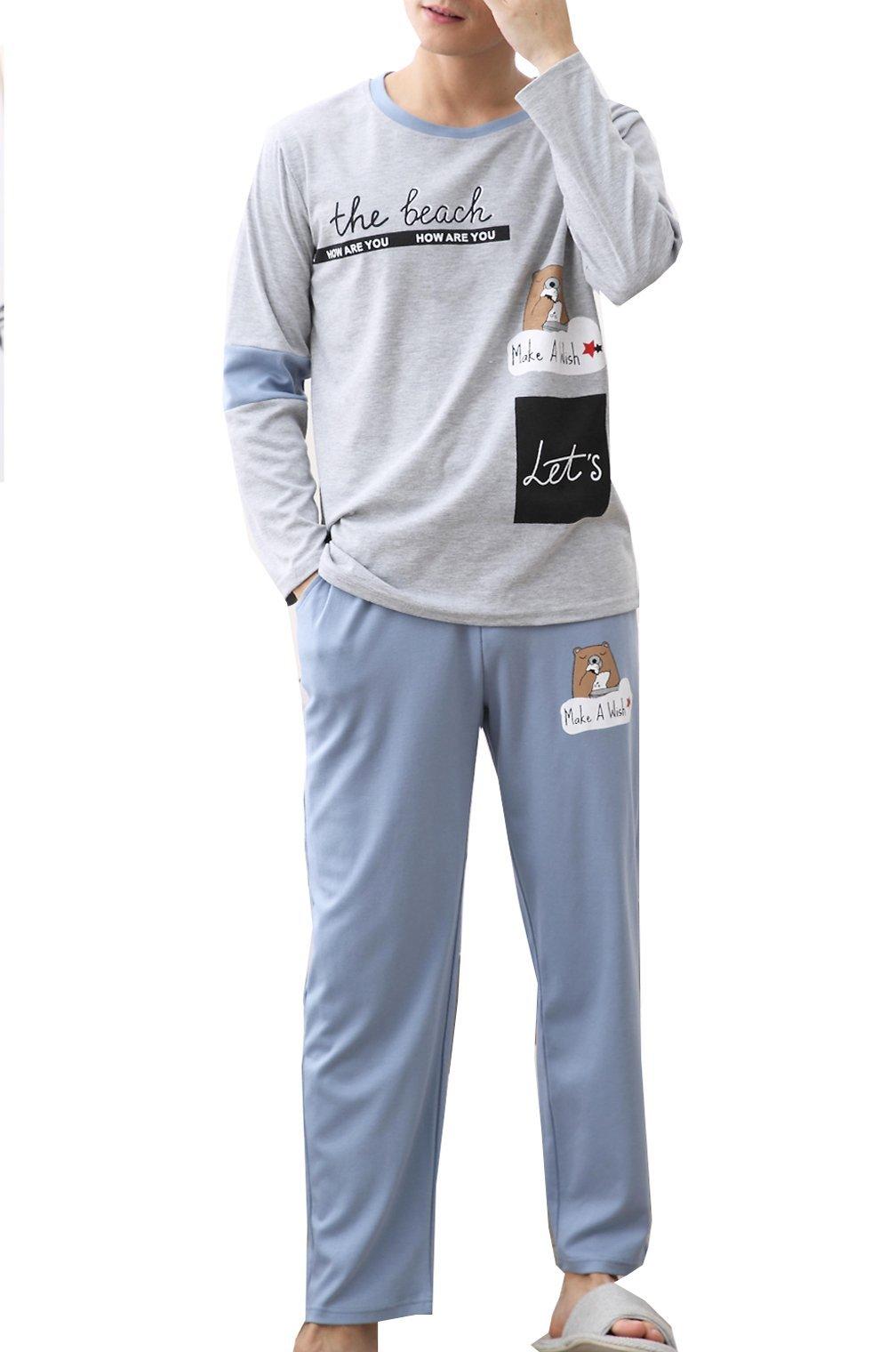 Big Boys Cute Bear Pajama Set Casual Comfy Loungewear Young Boy 10-18 Years