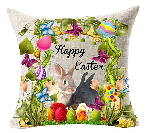 Andreannie Best Spring Gift Happy Easter Greetings Color Eggs Bunny Rabbit Couple Flower Wreath Basket Sturdy Cotton Linen Throw Pillow Case Cushion Cover Home Office Decorative Square 18 X 18 Inches