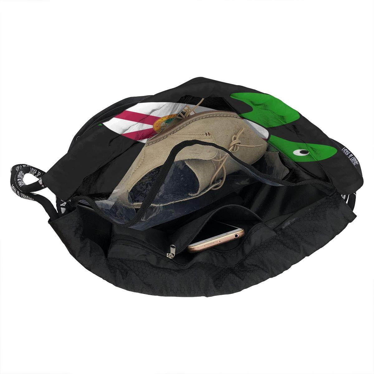 Sea Turtle Florida Flag Men//Women Drawstring Backpack Beam Mouth Sports Sackpack Rucksack Shoulder Bags
